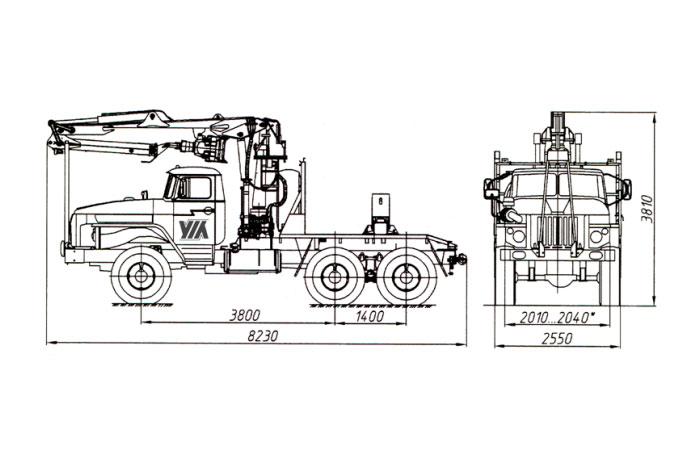 Трубоплетевоз с гидроманипулятором СФ-65С 4456N2-20 на шасси Урал 55571-1151-60М