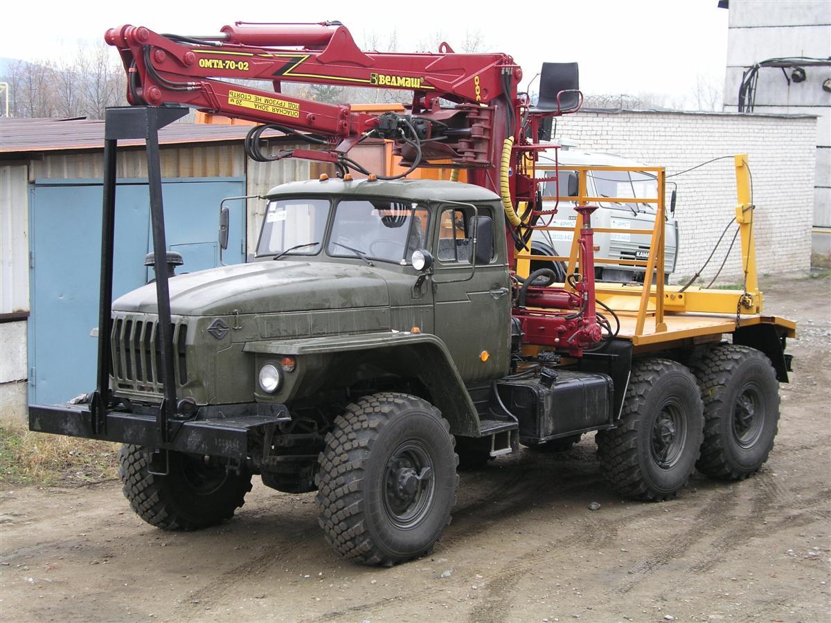 Лесовоз с гидроманипулятором ОМТЛ-70-02 4456N4-20 Урал 5557-1151-60М