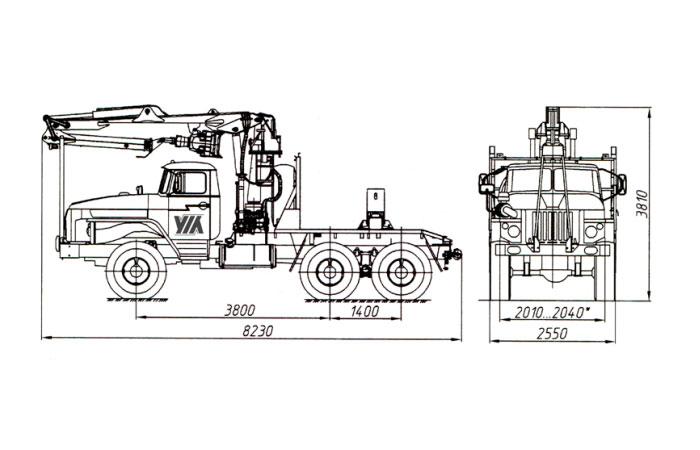 Трубоплетевоз с гидроманипулятором ЛВ-185-14 (Атлант-90) 4456N1-20 на шасси Урал
