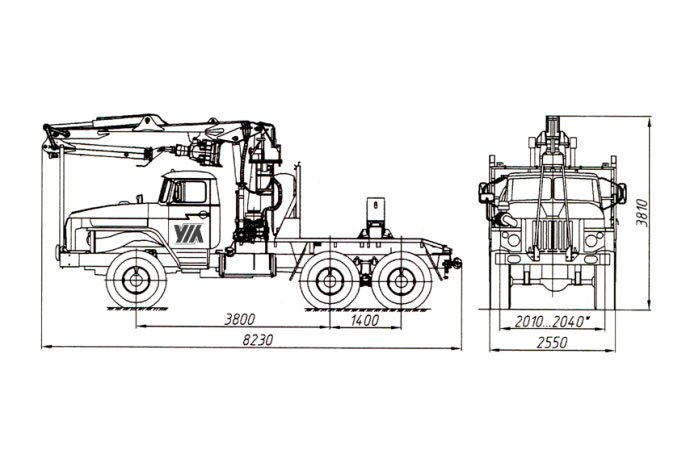 Трубоплетевоз с гидроманипулятором ЛВ-185-14 (Атлант-90) 4456N2-20 на шасси Урал