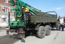 Бортовой автомобиль «Урал 4320-0911-60М», гидроманипулятор, общий вид сзади